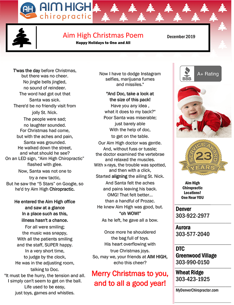 Aim High Chirorpactic Christmas Poem