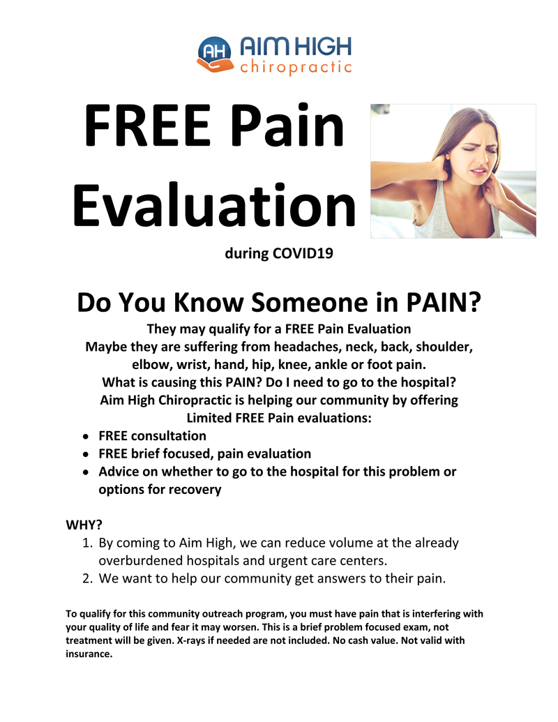 Free Pain Evaluation at Aim High Chiropractic