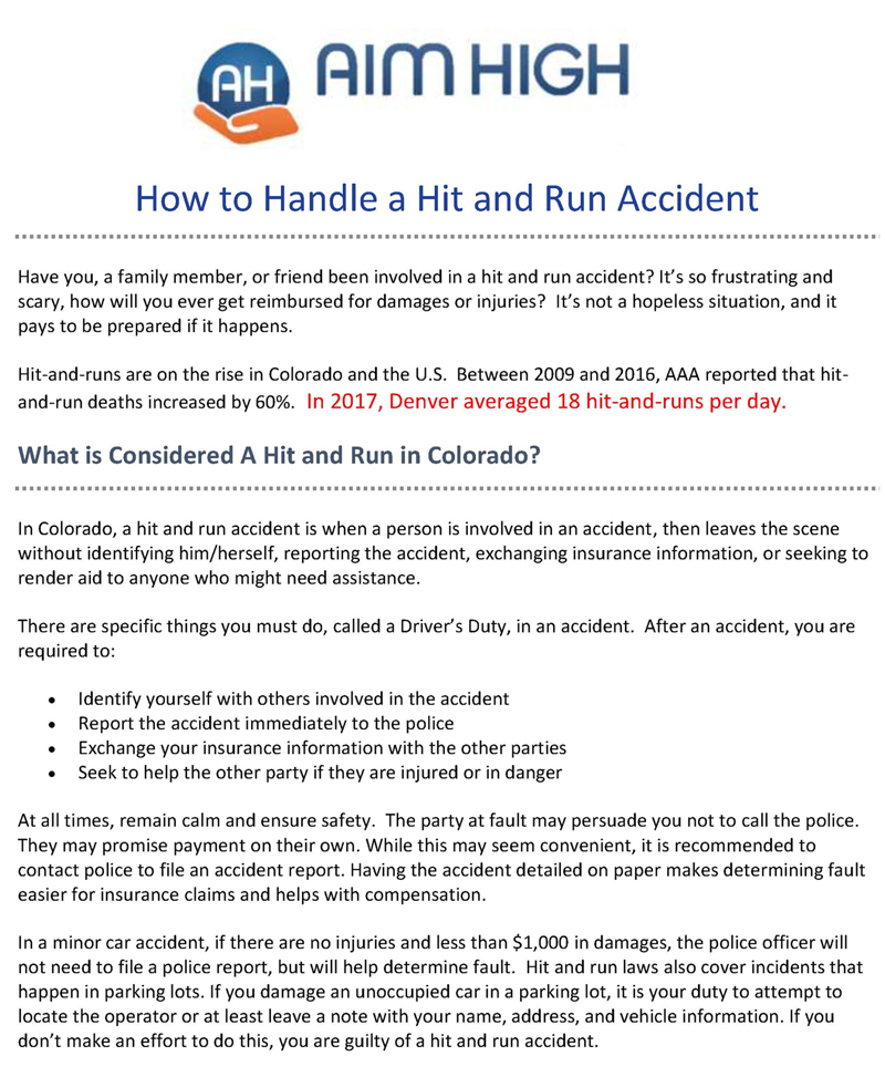 How To Handle A Hit And Run in Colorado